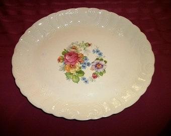 Thompson Pottery Platter Pink Roses by 1886  Liverpool, Ohio Shabby Chic on Sale