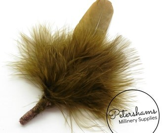 Vintage Men's Marabou and Goose Hat Feathers Millinery Mount - Olive Green