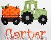 Boys Fall Shirt, Halloween Shirt, Tractor with Pumpkin, Pumpkin Patch Shirt, Custom Embroidered Applique Shirt, Fall Outfit, Thanksgiving
