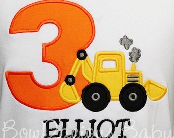 Backhoe Birthday Shirt, Toddler Construction Birthday Shirt or Bodysuit, Toddler Birthday Backhoe T-Shirt, Construction Boy, 1st, 2nd, 3rd