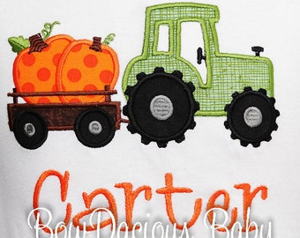 Boys Fall Shirt, Halloween Shirt, Tractor with Pumpkin, Pumpkin Patch Shirt, Custom Embroidered Applique Shirt, Fall Outfit, Thanksgiving