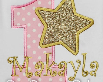 Pink and Gold Star Birthday Shirt or Bodysuit,Pink Star Birthday Shirt, Gold Star Birthday Bodysuit, Star Birthday Party, Glitter Birthday