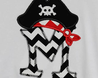 Girls Pirate Shirt, Personalized Pirate Shirt, Pirate Initial Shirt, Monogrammed, Custom Fabric Choices and Color, Girls Pirate Shirt