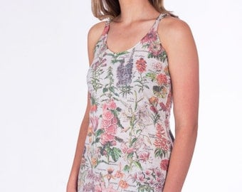 Flower Illustration Chart Tank Top--- Yoga Tri-Blend Racerback Sm Med Lg Xl XXl