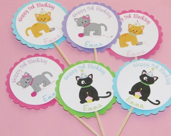 Cat Cupcake Toppers, Kitty Party, Kitten -- 24 Toppers