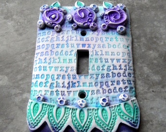 Alphabet and Flowers, switch plate cover, polymer clay, girl's room, white, aqua, blue and purple, one of a kind, matte finish