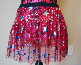 Fourth of July Running Skirt, Sparkle Red Running Skirt, Red Running Skirt, Stars 5K Skirt, Race Skirt, Princess Skirt, Red Ruffle Skirt