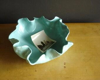Aqua Leaf Platter or Bowl - Vintage Pottery - Teal or Aqua Blue Handmade Bowl