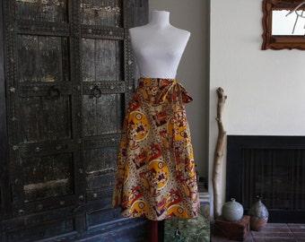 amazing vintage India cotton block print / batik wrap skirt