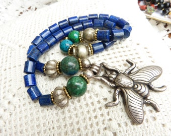 BEADART-AUSTRIA Necklace - Antique Sterling Silver Bee - Lapis and Chrysocolla Necklace