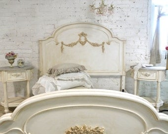 French Bed by Painted Cottage Shabby Chic Bed Twin / Full Bed  BD745