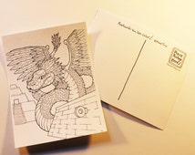 Quetzalcoatl 12 Coloring Postcards One Dozen Cards color mail Adult Coloring Page Mailart Mail Art Tursiart Wet media feathered serpent