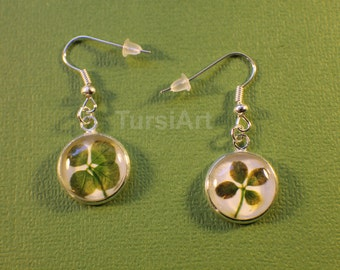 Real Four Leaf Clover Earrings Lucky Clover Earring Trifolium Repens Shamrock Jewelry Silver brass Glass Cabochon Preserved pressed flowers