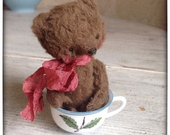 4 inch Artist Handmade Viscose Miniature Pocket Sized Teddy Bear Milo by Sasha Pokrass