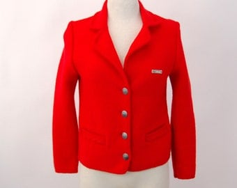 1980s boiled wool jacket Loffler Made in Austria red wool jacket sweater Size M