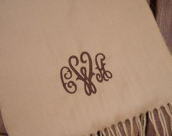 Monogrammed Cashmere Touch Scarf - Camel, Navy, Black or Chocolate Brown