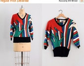 45% OFF SALE.... vintage sequined sweater  • cotton multicolor sweater • small