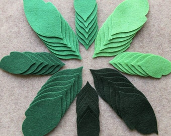 Green Acres - Regular Leaves Value Pack - 144 Die Cut Wool Blend Felt Shapes