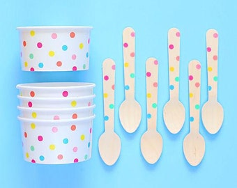 Pastel Rainbow Polka Dot Ice Cream Cups & Wooden Spoons, Rainbow Party Ice Cream Cups, Pastel Ice Cream Bowls, Easter Ice Cream Cups (12)