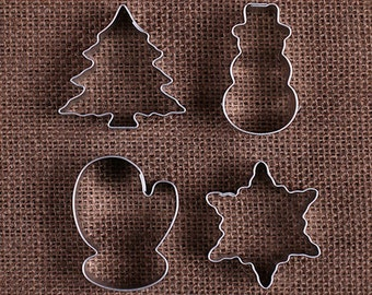 MINI Christmas Cookie Cutter Set with Mini Snowman Cookie Cutter, Mini Mitten Cookie Cutter and Mini Tree Cookie Cutter