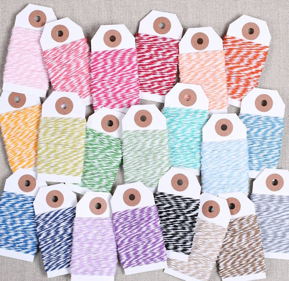 Bakers Twine, Twine, Cotton Twine, Gift Wrap, Baker's Twine Sampler, Bakers String, Gift Wrapping, Pick 6 Colors or Complete Set (5 yards)