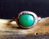 Chrysoprase Ring Gemstone Raw Copper Crystal Ring Emerald Cocktail Ring Rough Stone Jewelry Size 7.5
