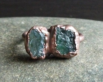 Raw Crystal Ring Sapphire Tourmaline Copper Gemstone Raw Crystal Ring Rough Stone Jewelry Size 8 Midwest Alchemy