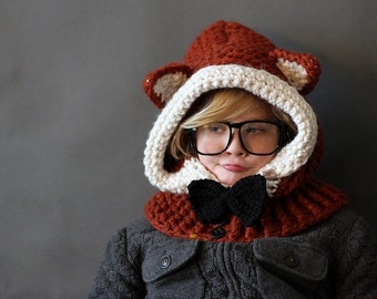 Crochet PATTERN Crochet Cowl Pattern Hooded Fox  Sizes 1 Year to Adult Included