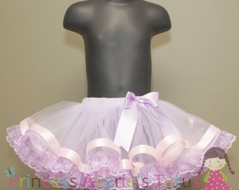 READY TO SHIP Vintage Sweet Lace and Ribbon Trim Tutu 1-2T