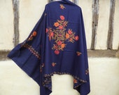 "Pashmina.Dark Navy Blue shawl/stole. Pure wool . 84 x 40""  210 x 98 cm."
