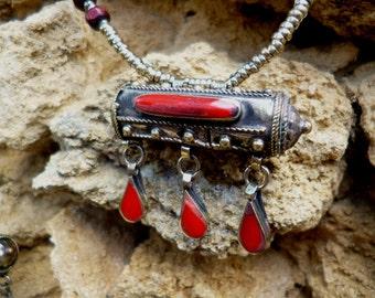 Kuchi Tribal Prayer Box Necklace.  Choice of three colours. Hand made. Silver Gilt.
