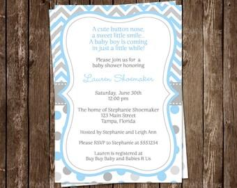 Baby Shower Invitations, Boys, Aqua, Blue, Gray, Polka Dots, Chevron, Stripes, 10 Printed Invites, FREE Shipping, Customized, Sprinkle