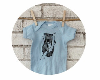 Koala Bear Onepiece Infant Bodysuit, Light Blue, Marsupial Baby  Baby Boy Zoo Animal Hand Screen-printed, Baby Shower Gift Short Sleeved top