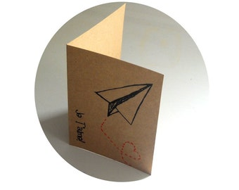 Love Notes Paper Airplane Trailing a heart  screen printed greeting card blank inside