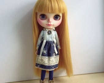Blythe Long Sleeve Dress : Baby Blue , Flower Navy Blue , Japanese Fabric , Vintage  Inspired (2 pieces per set)