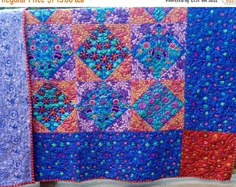 SALE now thru labor Day Hand quilted Bed quilt with  Kaffe Fassett fabrics, original design, double quilt, twin quilt queen quilt, floral qu
