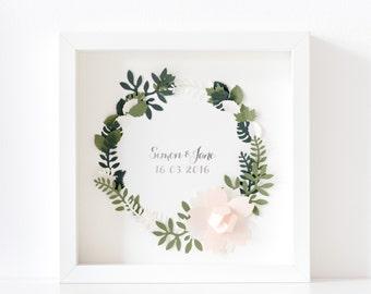 Wedding Wreath / Personalized Wedding Frame / Wedding Decoration / Wedding Centrepiece / Gold foil / Personalised wedding gift
