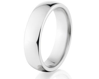 Cobalt Chrome Rings, Cobalt Bands, Shiny Cobalt Wedding Ring: COB-7HR-P