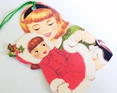 Retro Girl N Doll - Christmas Doll - Gift Tags - Set of 3 - 1950's Xmas -  Holiday Doll Tag - Red Green Tags - Nostalgic Christmas -