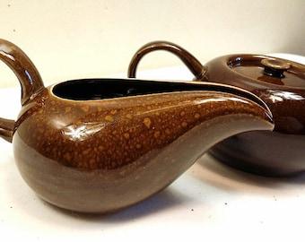 Mid Century Modern Russel Wright American Modern Steubinville Pottery Black Chutney Cream and Sugar