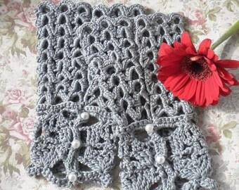 Crocheted Victorian Fingerless Gloves Cotton Silk Silver Grey OOAK