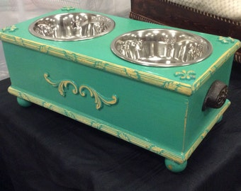 Custom made Turquoise Solid Wood Elevated Dog Bowl Feeder
