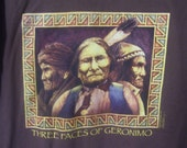 Vintage T-Shirt, Three Faces of Geronimo, Size Large, Brown Earth Tones, All Cotton, Washable, Hanes Beefy-T, Good Condition