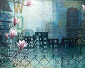 """Through Fences and Flowers - 90"""" x 36"""" original Boston abstract skyline mixed media painting"""