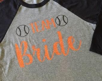 TEAM Bride with baseballs 3/4 sleeve tee