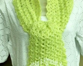 Crochet Lacy Scarf, Lemon Lime Scarf, Lacy Scarf, Scarf, Winter Wear, Accessory, Winter, Fall, Cowl, Neck Warmer