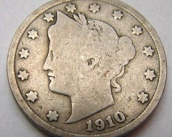 1910 LIBERTY HEAD 5 CENTS Liberty Head nickel V nickel Coin Charm 0r for bracelet