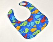 Gender Neutral Cute Baby Bib For Feeding or Drool, Infant Boy or Girl, Whales Ocean Beach, Shower Gift, Reversible, 3 Ply Flannel Backing