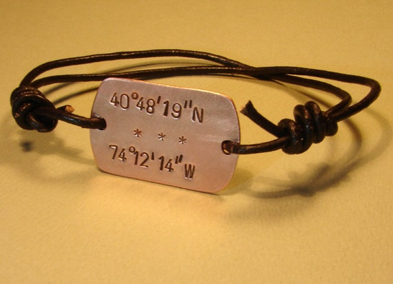 Latitude Longitude Copper Wrap Bracelet With Leather Cord And