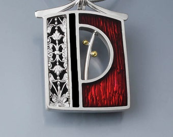 Ivy Woodrose sterling silver, PMC, and resin enamel window pendant